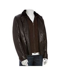 Prada | Dark Brown Leather Shearling Double Collar Jacket for Men | Lyst