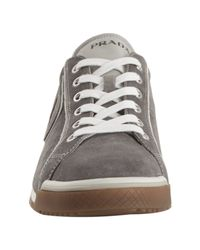 Prada - Gray Sport Stone Grey Suede P Patch Sneakers for Men - Lyst