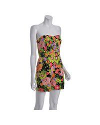 Shoshanna | Black Floral Cotton-silk Strapless Romper Shorts | Lyst