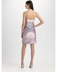 THEIA - Purple Strapless Cocktail Dress - Lyst