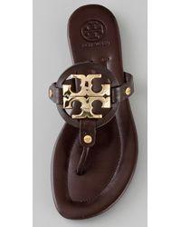 Tory Burch - Brown Miller Logo Flat Thong Sandal - Lyst