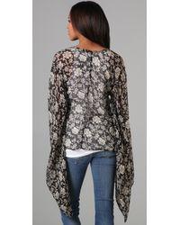 Winter Kate - Black Crane Silk Floral Cardigan - Lyst