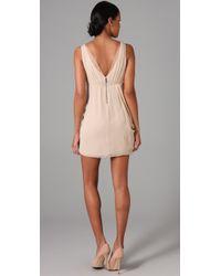 Alice + Olivia - Natural Faux Wrap Drape Dress - Lyst