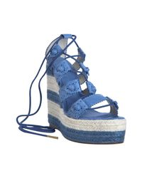 Balenciaga | Blue Cloud Leather Lace-up Espadrille Wedges | Lyst