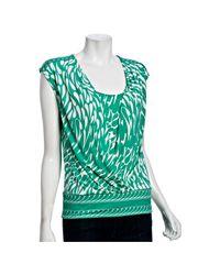 BCBGMAXAZRIA | Green Emerald Jersey Petal Print Overlay Top | Lyst