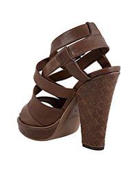 Bottega Veneta | Brown Leather Woven Detail Platform Sandals | Lyst