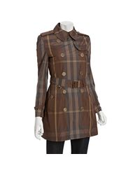 Burberry | Gray Brit Birch Grey Check Belted Trench Coat | Lyst