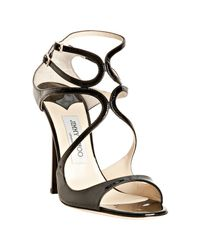 Jimmy Choo | Black Patent Leather Lance Sandals | Lyst