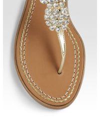 kate spade new york - Metallic Hula Pineapple Jeweled Thong - Lyst