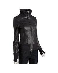Mackage | Blue Black Lambskin Lauren Knit Trim Leather Jacket | Lyst