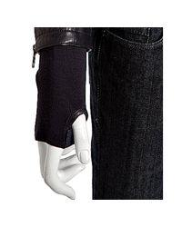 Mackage   Blue Black Lambskin Lauren Knit Trim Leather Jacket   Lyst