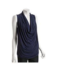 MICHAEL Michael Kors | Dark Blue Jersey Cowl Neck Top | Lyst