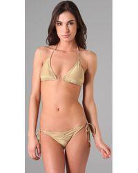 OndadeMar | Metallic Solid String Bikini Top | Lyst
