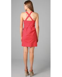 Shoshanna - Red Button Front Sheath Dress - Lyst