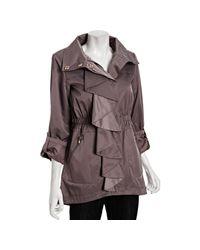 Tahari - Purple Vintage Rose Nola Ruffle Front Anorak Jacket - Lyst