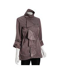 Tahari | Purple Vintage Rose Nola Ruffle Front Anorak Jacket | Lyst