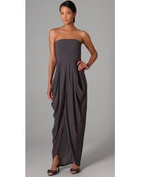 Twelfth Street Cynthia Vincent | Gray Strapless Dress with Skirt Drape | Lyst