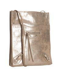 Balenciaga | Beige Metallic Calfskin Milky Way Papier Crossbody Bag | Lyst