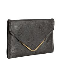 BCBGMAXAZRIA | Gray Charcoal Lizard Embossed Charlie Oversized Envelope Clutch | Lyst