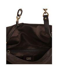 Fendi - Dark Brown Brushed Shimmer Leather Mamma Shoulder Bag - Lyst