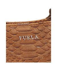 Furla - Brown Medium Cognac Snake Embossed Rubino Bag - Lyst