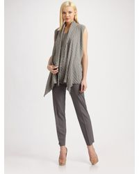 Lafayette 148 New York | Gray Plisse Check Open-draped Vest | Lyst