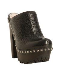 Miu Miu | Black Pebbled Leather Studded Platform Clog Mules | Lyst