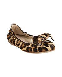 Miu Miu | Multicolor Leopard-print Calf Hair Ballerina Flats | Lyst