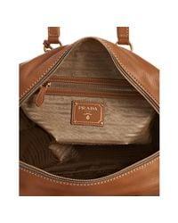 Prada | Brown Caramel Leather Vitello Daino Top Handle Bag | Lyst