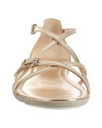 Prada - Metallic Sport Gold Leather Flat Sandals - Lyst