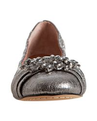 Vince Camuto - Metallic Frosted Silver Leather Melody Jeweled Flats - Lyst