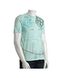 Prada - Light Blue Calender Printed Cotton Crewneck T-shirt for Men - Lyst