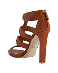 Gucci - Brown Cognac Leather Suede Studded Sigourney Platform Sandals - Lyst