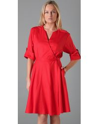 MILLY | Red Natalia Wrap Dress | Lyst