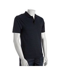 Original Penguin | True Black Striped Cotton Rounded Collar Polo for Men | Lyst