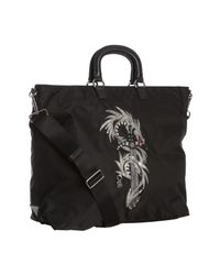 Prada | Black Nylon Dragon Appliqué Tattoo Shopping Tote for Men | Lyst