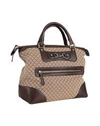 Gucci | Natural Beige Diamante Canvas Catherine Top Handle Bag | Lyst