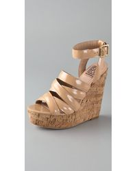Pour La Victoire | Natural Jessie Cork Wedge Sandals | Lyst