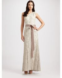 Tadashi Shoji | Natural One Shoulder Embroidered Lace Gown | Lyst