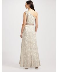 Tadashi Shoji - Natural One Shoulder Embroidered Lace Gown - Lyst