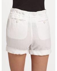 VINCE | White Silk Contrast Drawstring Linen Shorts | Lyst