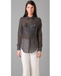 3.1 Phillip Lim | Gray Striped Bustier Blouse | Lyst
