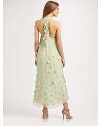 Badgley Mischka | Green Long Silk Petal Dress | Lyst