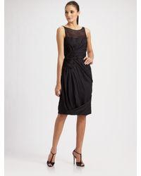 Carmen Marc Valvo | Black Side Draped Silk Chiffon Cocktail Dress | Lyst