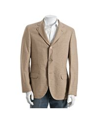 Brunello Cucinelli - Green Khaki Houndstooth Plaid Cotton 3-button Blazer for Men - Lyst