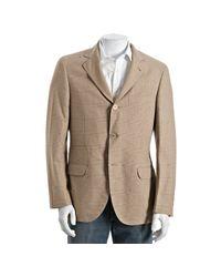 Brunello Cucinelli | Green Khaki Houndstooth Plaid Cotton 3-button Blazer for Men | Lyst