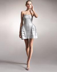 Hervé Léger | Metallic Strapless Runway Dress | Lyst