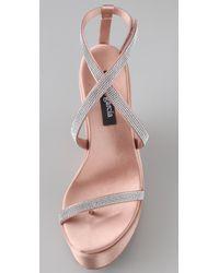 Pedro Garcia - Pink Tayra Swarovski Platform Sandals - Lyst