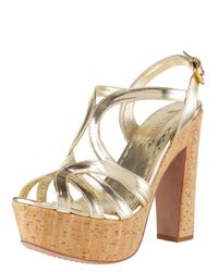 Prada | Metallic Cork-bottom Platform Sandal | Lyst