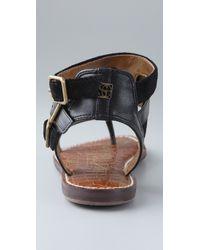 Sam Edelman   Black Grenna Suede Flat Sandals   Lyst